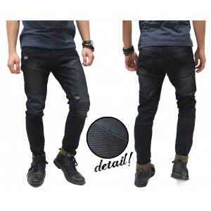 Biker Jeans Washing With Ripped Black
