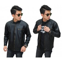 Jacket Leather Biker Black