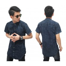 Kemeja Denim Longline Stone Wash Black Faded