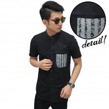 Kemeja Pendek Shanghai Pocket Stripe Motif Black
