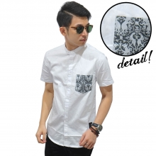 Kemeja Pendek Shanghai Pocket Batik White