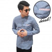 Kemeja Shanghai Oxford Pocket Stripe Blue