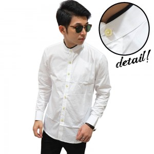 Kemeja Shanghai Panjang Collar With List White
