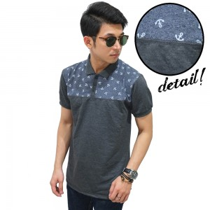 Polo Half Top Anchor Grey