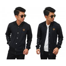 Bomber Jacket Sleeve Leather Cool Black