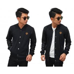 Bomber Jacket Sleeve Leather Cool Black
