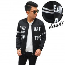 Bomber Jacket Typography Arm Stripe Black