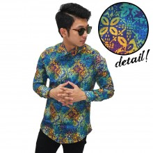 Kemeja Batik Elegant Colourful Tosca