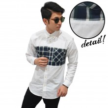 Kemeja Panjang Middle Block Tartan Square White