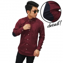 Kemeja Panjang With Elbow Patch Maroon