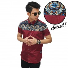 Kemeja Pendek Combi Batik Irian Maroon