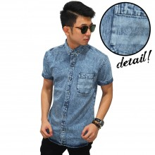 Kemeja Pendek Denim Pocket Stripe Wash