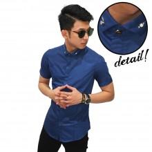 Kemeja Pendek Slim Fit Diamond Button Navy