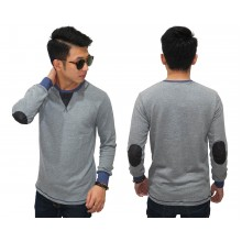 Sweatshirt Neck And Elbow Patch Soft Grey