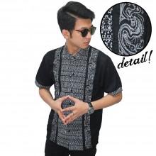 Baju Koko Pendek Bordir Batik Monokrom Black