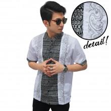 Baju Koko Pendek Bordir Batik Monokrom White