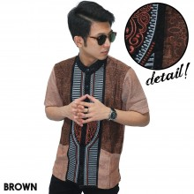 Baju Koko Pendek Modern Bordir Garis Brown
