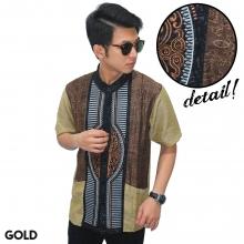 Baju Koko Pendek Modern Bordir Garis Gold