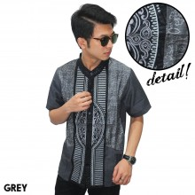 Baju Koko Pendek Modern Bordir Garis Grey
