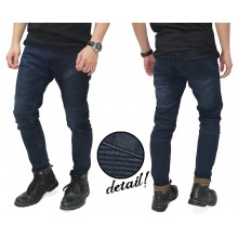 Biker Jeans Ribbed Panel Dark Indigo