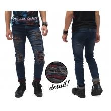 Jeans Ripped Extreme With Patch Kakkoii Dark Indigo
