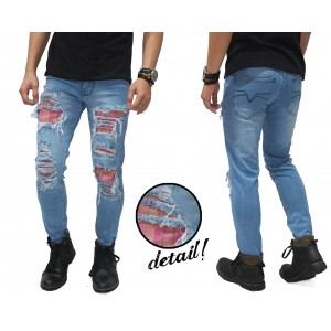 Jeans Ripped Extreme With Patch Kakkoii Soft Blue