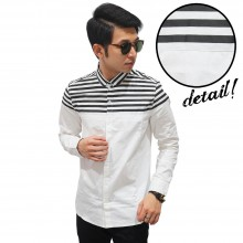Kemeja Half Top Stripe White