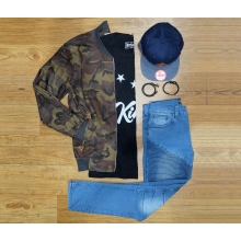 1 Set Outfit Of The Day (Army+Biker)