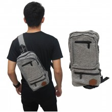 Shoulder Bag Canvas Double Zipper Soft Grey