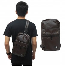 Shoulder Bag Polyester Double Button Brown