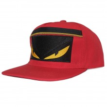 Topi Snapback Fendi Monster Zipper Red