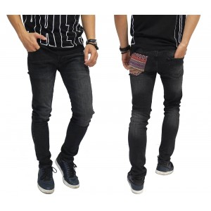 Jeans With Pocket Tribal Black Washed