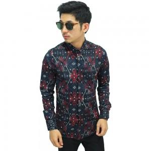 Kemeja Batik Panjang Songket Gradation Black