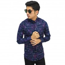Kemeja Batik Panjang Songket Gradation Purple