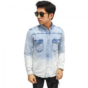 Kemeja Denim Panjang Gradation Light Blue