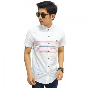 Kemeja Pendek Stripe Colorful White