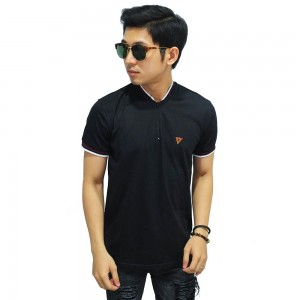 Polo Stand Collar With Zipper Black