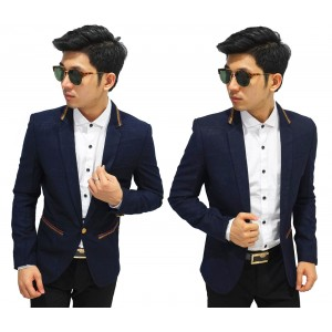 Blazer Formal Gold List Dark Navy