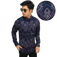 Kemeja Batik Songket Sumatera New Purple