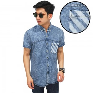 Kemeja Denim Pendek Pocket Slash Blue