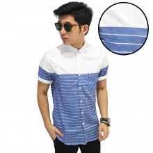 Kemeja Pendek Oxford Combination Stripe Blue