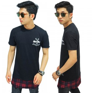 Longline T-Shirt Bottom Tartan Square Black