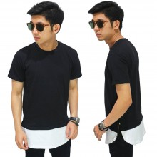 Longline T-Shirt Two Tone Zipper Black