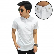 Polo Elegant Diamond Button White