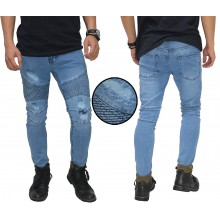Celana Biker Jeans Ripped Light Blue
