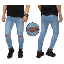 Celana Jeans Ripped On Knee Light Blue