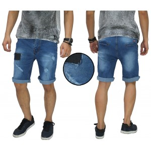 Celana Pendek Jeans Ripped And Repair Blue