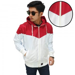 Jaket Parasut Windrunner Red And White