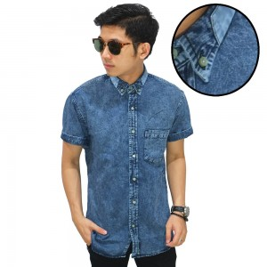 Kemeja Denim Pendek Button Down Collar Blue