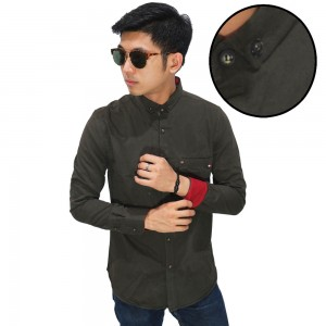 Kemeja Panjang Formal Polos Dark Green